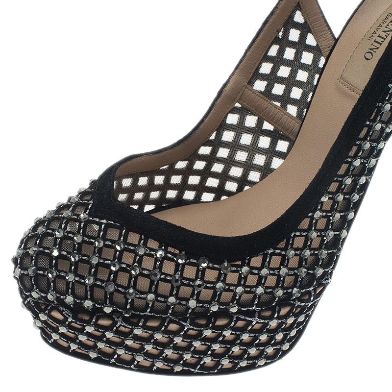 Valentino Black Lattice Crystals Studded Slingback Platform Sandals Size 37.5