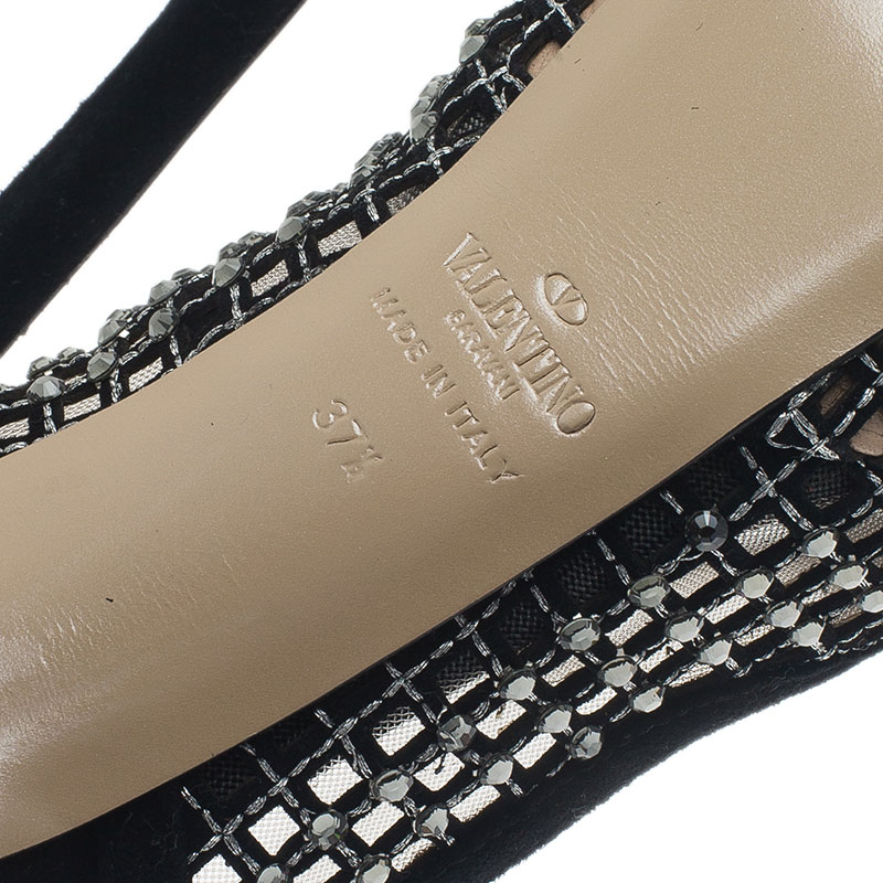 Valentino Black Lattice Crystals Studded Slingback Platform Sandals Size 37.5