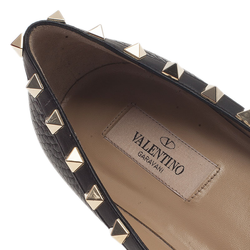 Valentino Black Leather Rockstud Ballet Flats Size 37.5