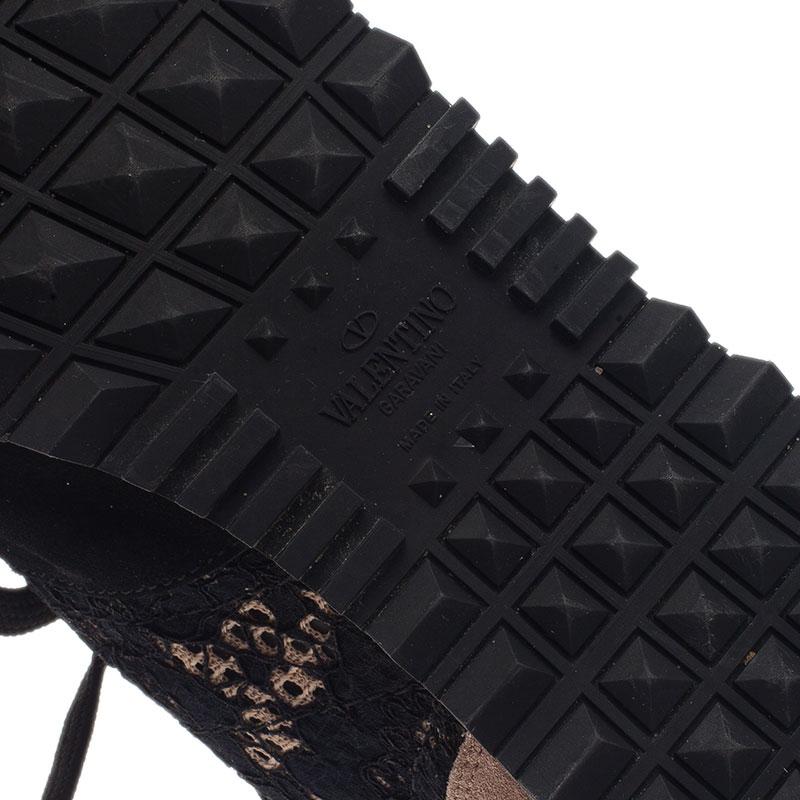 "Valentino Black ""Macramé Lace"" Sneakers Size 41"