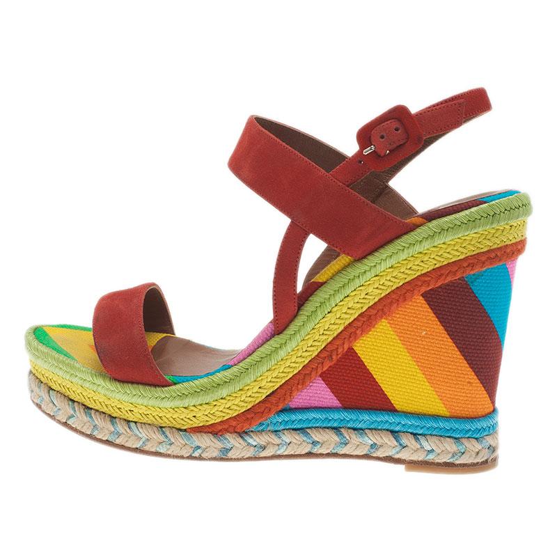 Valentino Multicolor Canvas Suede Wedge Sandals Size 36.5