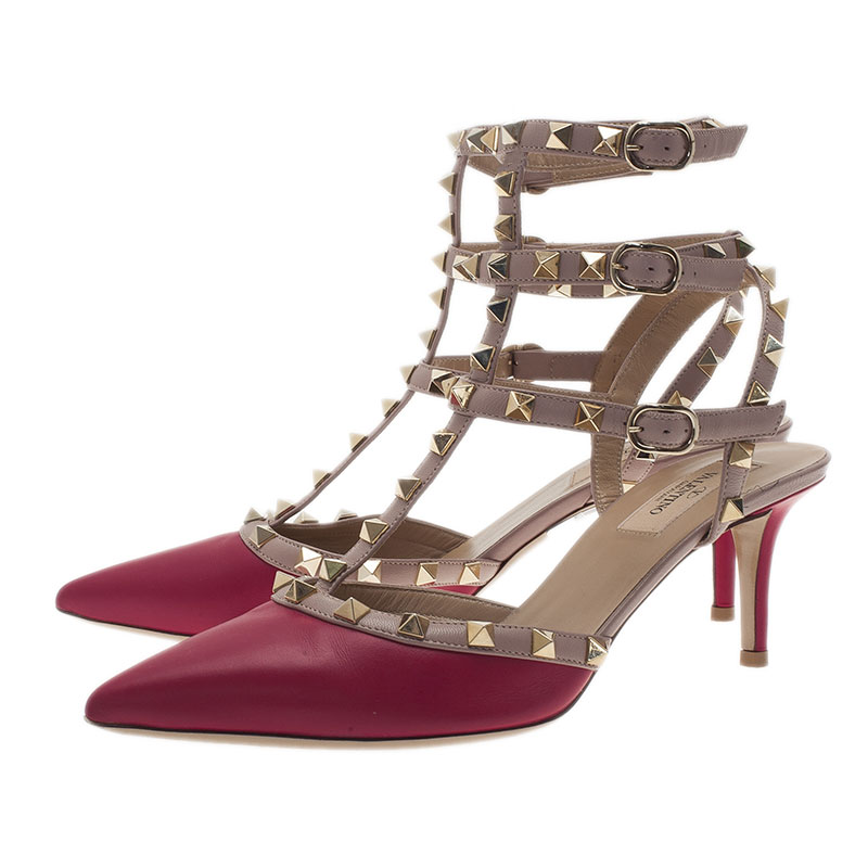 Valentino Pink and Beige Leather Rockstud Sandals Size 39