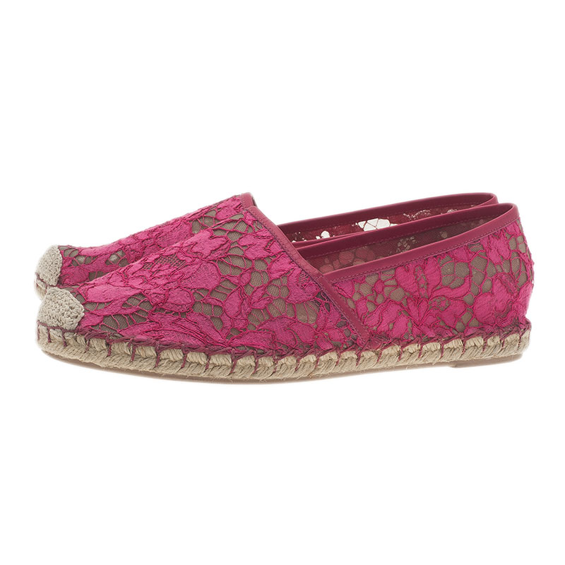 Valentino Pink Lace and Leather Espadrilles Size 38