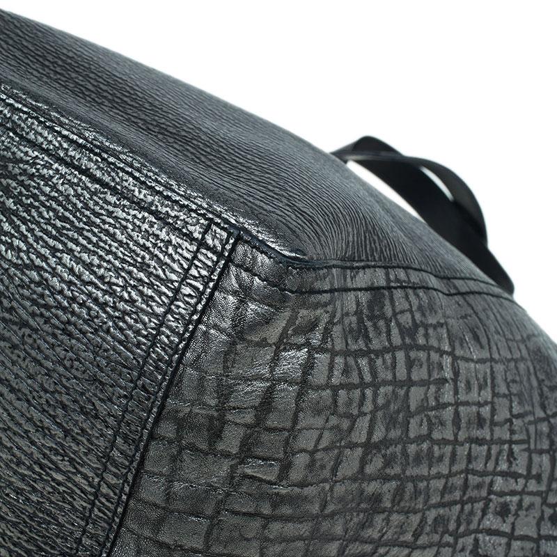 Saint Laurent Paris Metallic Grey Leather Croc Embossed Large Downtown Tote